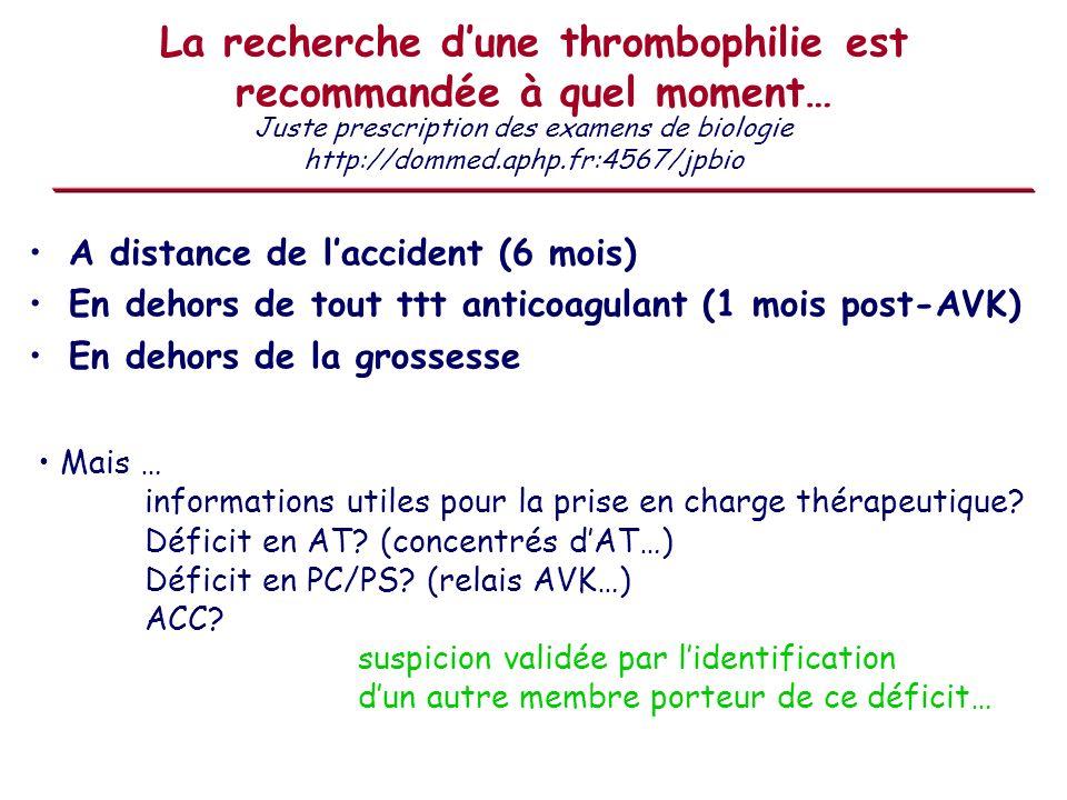 La recherche d'une thrombophilie est recommandée à quel moment…