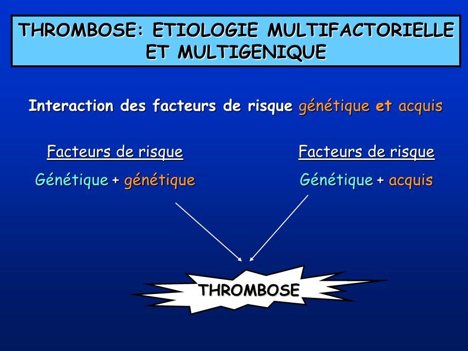 THROMBOSE: ETIOLOGIE MULTIFACTORIELLE ET MULTIGENIQUE