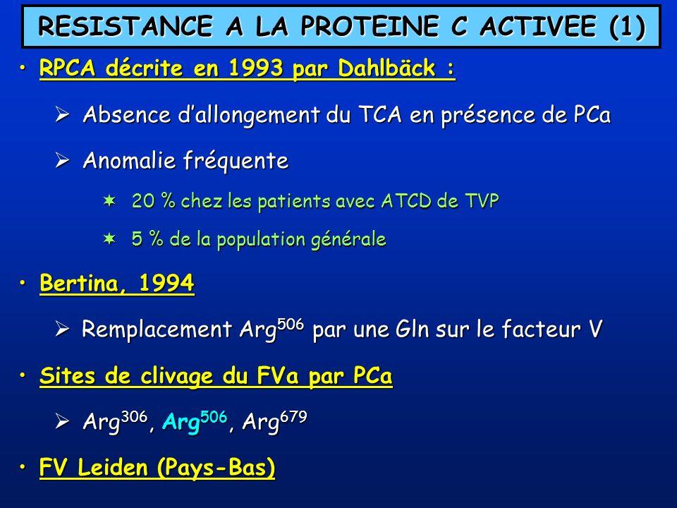 RESISTANCE A LA PROTEINE C ACTIVEE (1)