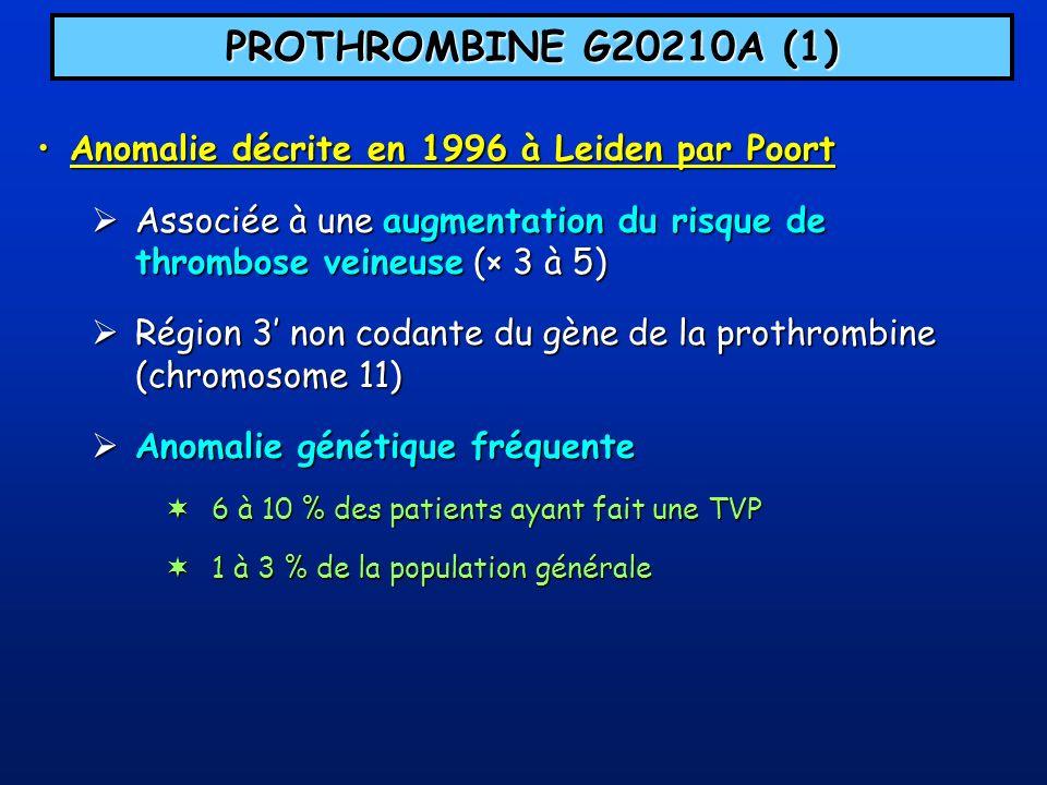 PROTHROMBINE G20210A (1) Anomalie décrite en 1996 à Leiden par Poort