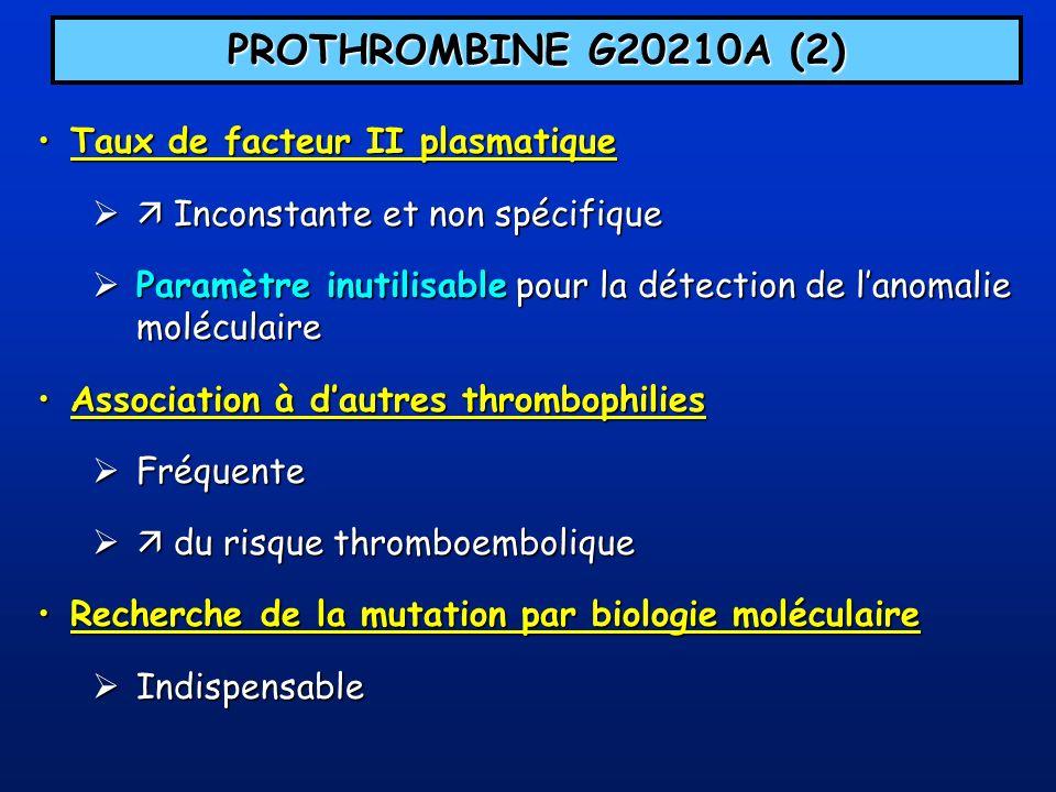 PROTHROMBINE G20210A (2) Taux de facteur II plasmatique