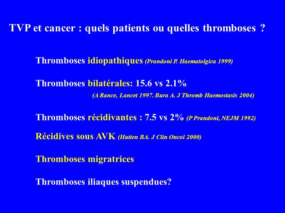 TVP et cancer : quels patients ou quelles thromboses