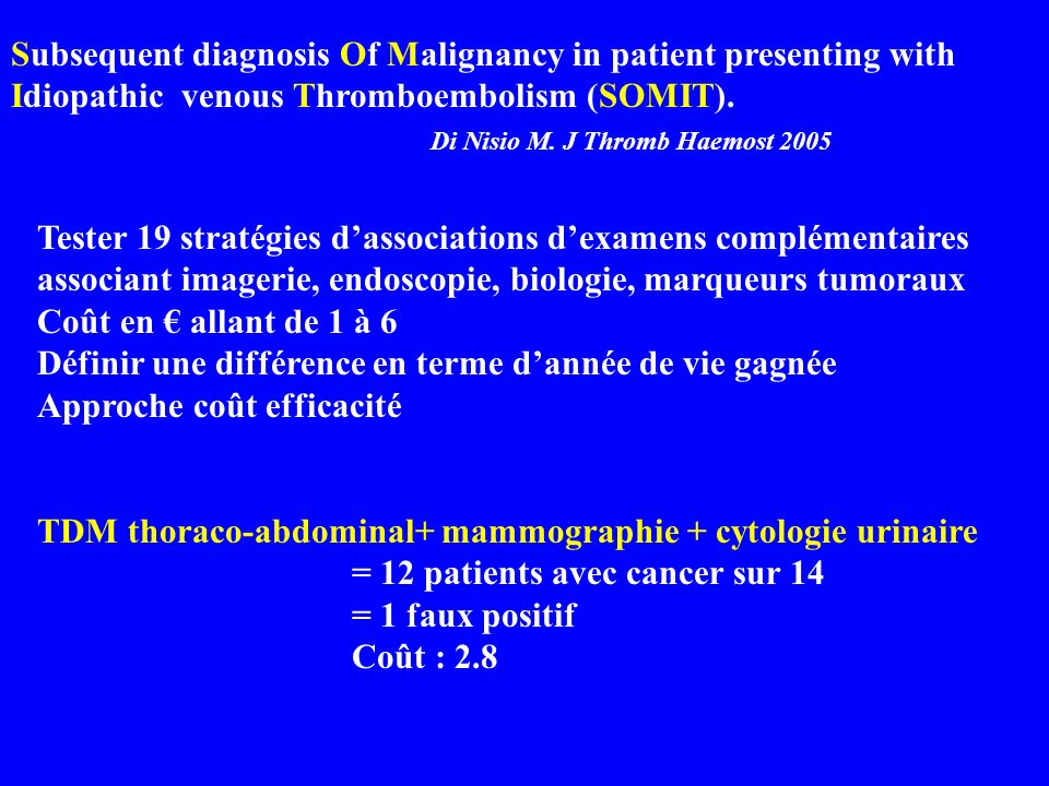 Subsequent diagnosis Of Malignancy in patient presenting with