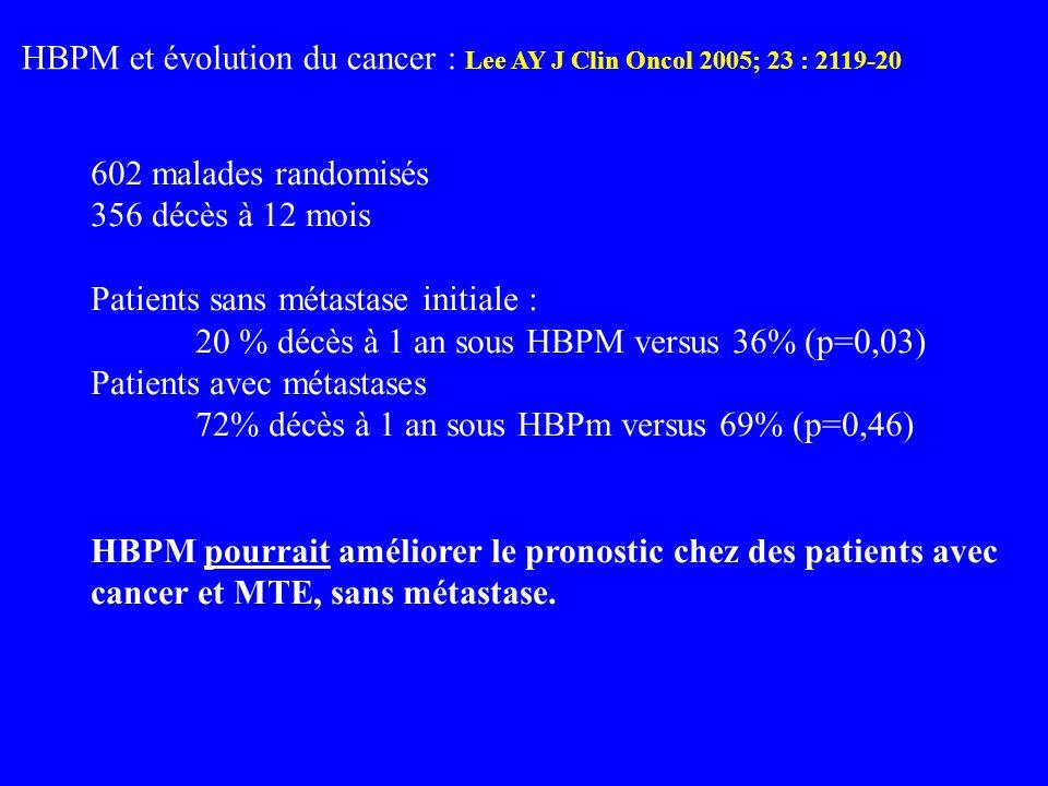HBPM et évolution du cancer : Lee AY J Clin Oncol 2005; 23 : 2119-20