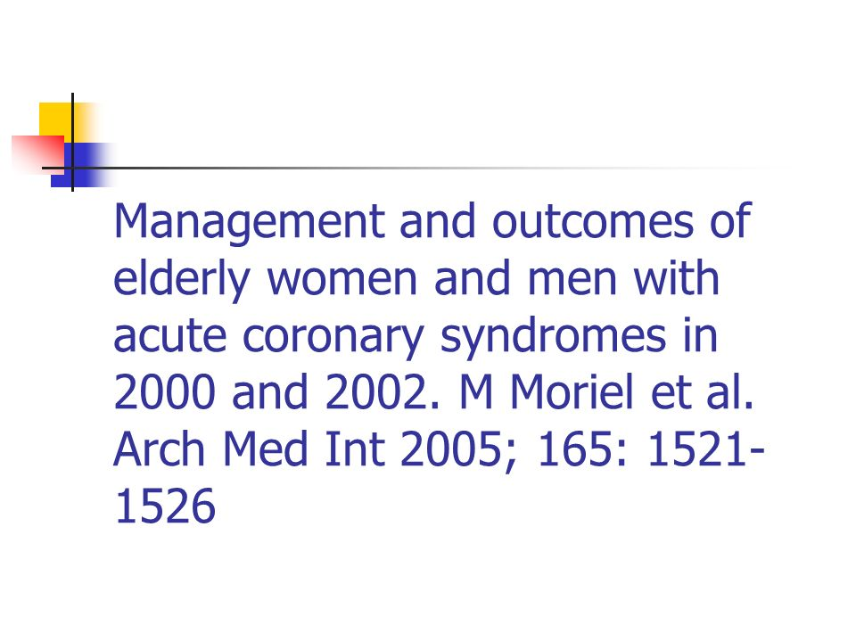 Management and outcomes of elderly women and men with acute coronary syndromes in 2000 and 2002.