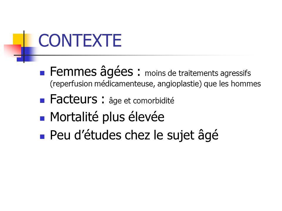 CONTEXTE Femmes âgées : moins de traitements agressifs (reperfusion médicamenteuse, angioplastie) que les hommes.