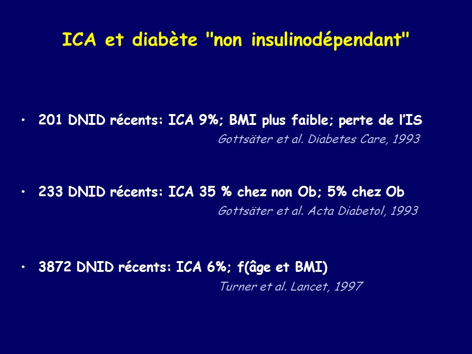 ICA et diabète non insulinodépendant