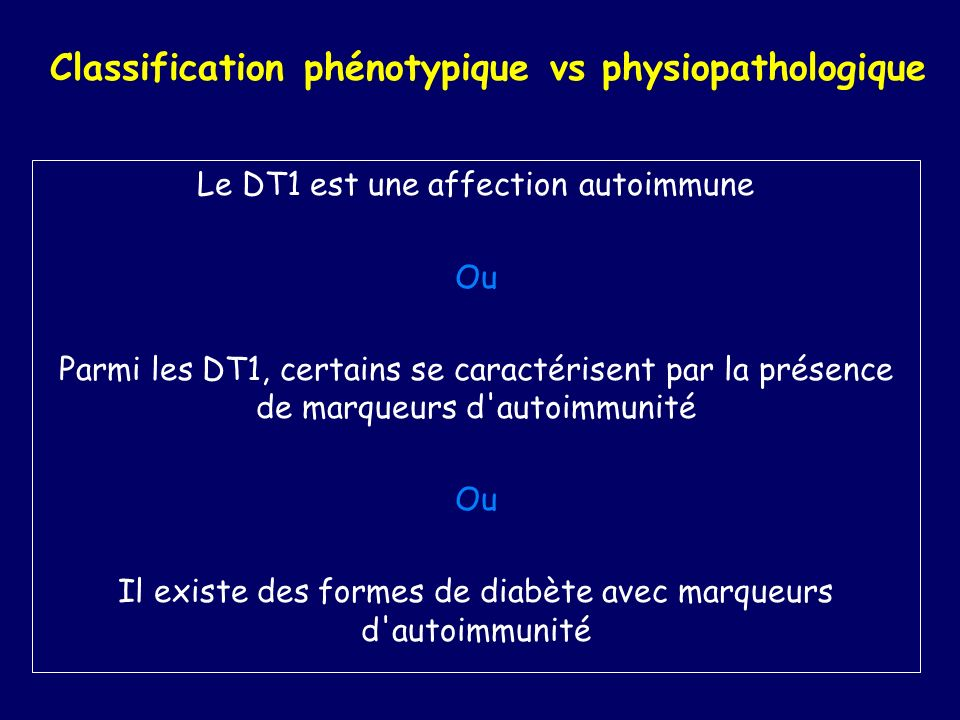 Classification phénotypique vs physiopathologique