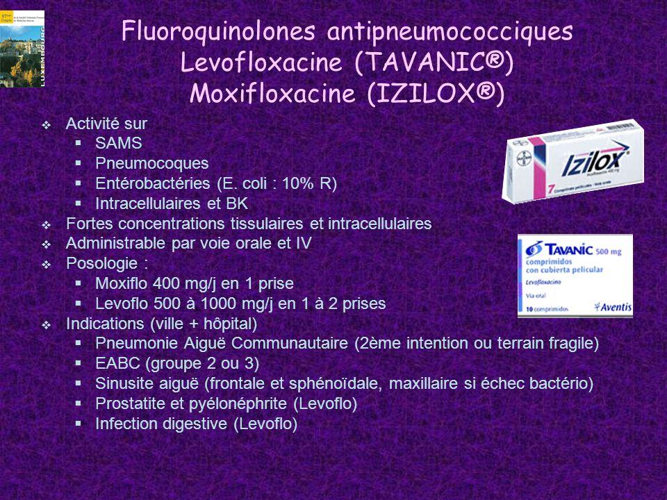 Fluoroquinolones antipneumococciques Levofloxacine (TAVANIC®) Moxifloxacine (IZILOX®)