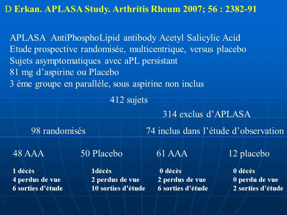 D Erkan. APLASA Study. Arthritis Rheum 2007; 56 : 2382-91