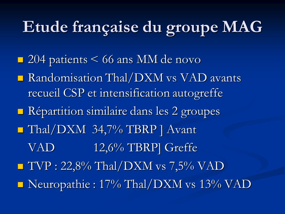 Etude française du groupe MAG