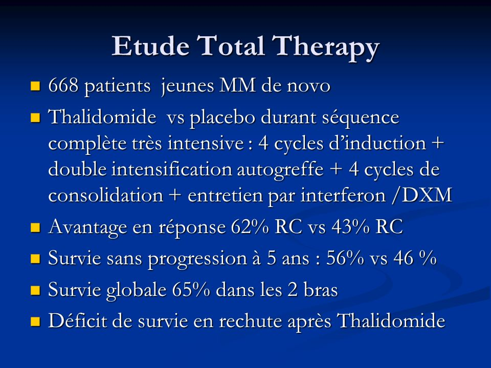Etude Total Therapy 668 patients jeunes MM de novo