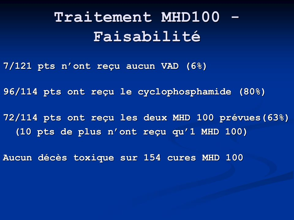 Traitement MHD100 - Faisabilité