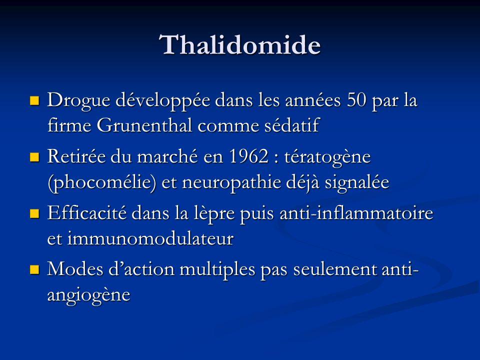 ThalidomideDrogue développée dans les années 50 par la firme Grunenthal comme sédatif.