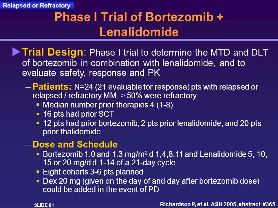 Phase I Trial of Bortezomib + Lenalidomide