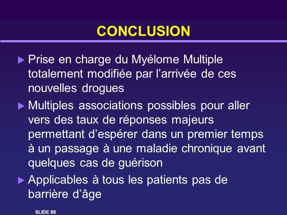 CONCLUSIONPrise en charge du Myélome Multiple totalement modifiée par l'arrivée de ces nouvelles drogues.