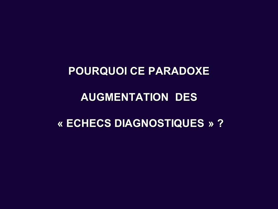 POURQUOI CE PARADOXE AUGMENTATION DES « ECHECS DIAGNOSTIQUES »