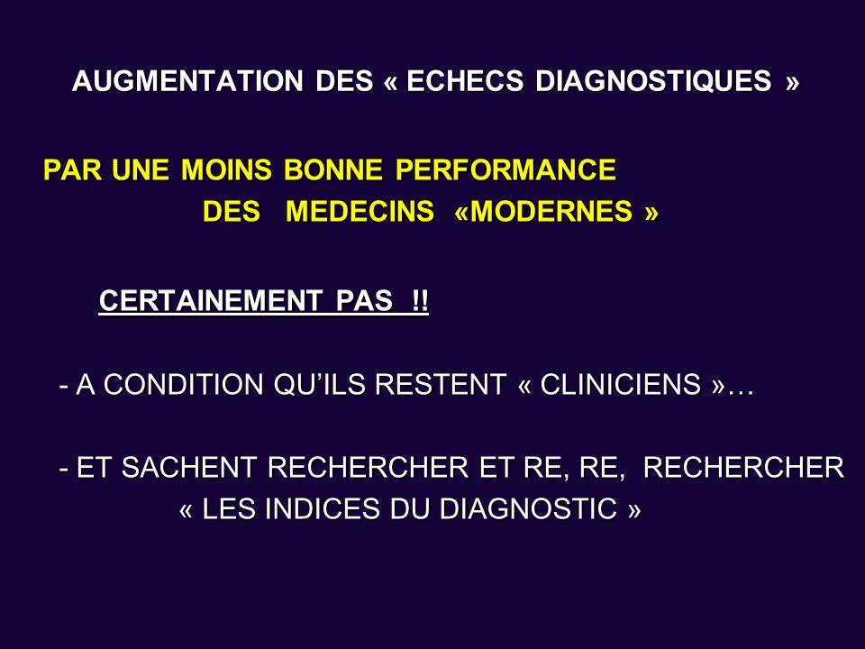 AUGMENTATION DES « ECHECS DIAGNOSTIQUES »