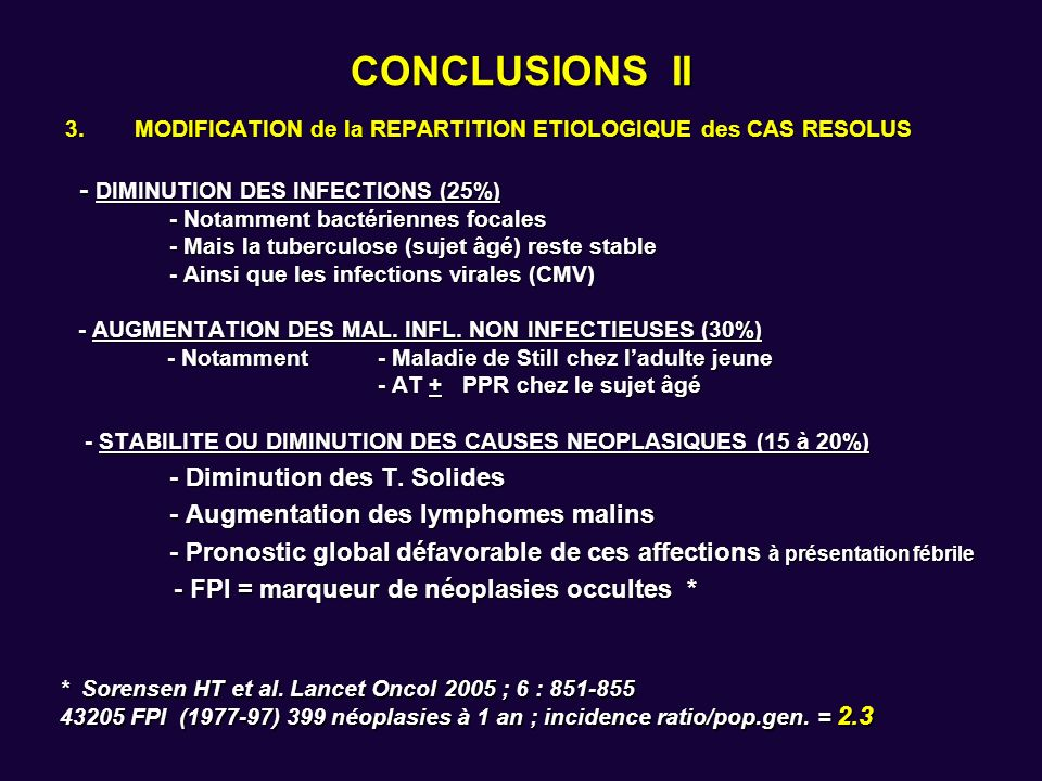 CONCLUSIONS II - DIMINUTION DES INFECTIONS (25%)