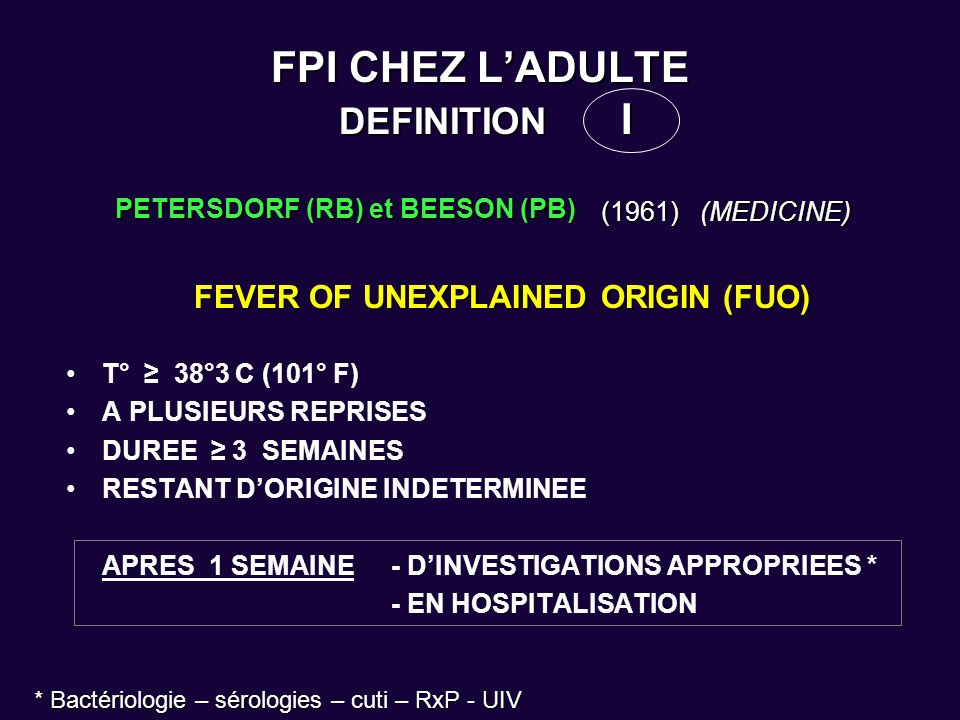 FPI CHEZ L'ADULTE DEFINITION I