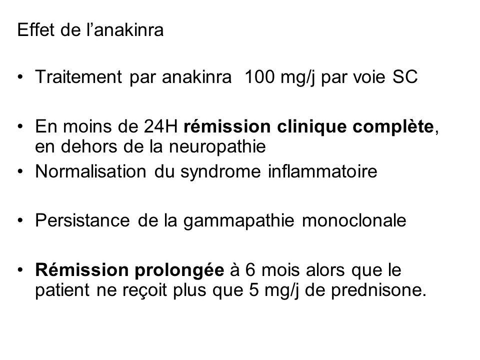 Effet de l'anakinra Traitement par anakinra 100 mg/j par voie SC. En moins de 24H rémission clinique complète, en dehors de la neuropathie.
