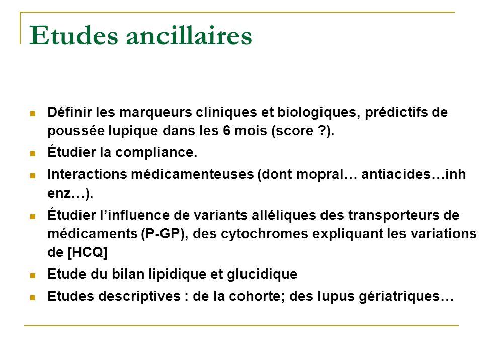 Etudes ancillaires Définir les marqueurs cliniques et biologiques, prédictifs de poussée lupique dans les 6 mois (score ).