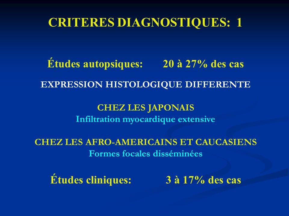 CRITERES DIAGNOSTIQUES: 1