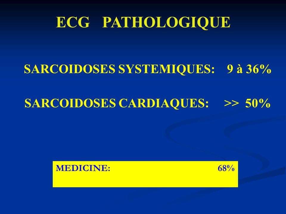 ECG PATHOLOGIQUE SARCOIDOSES CARDIAQUES: >> 50% MEDICINE: 68%