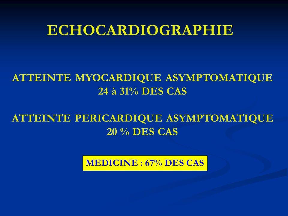 ECHOCARDIOGRAPHIE ATTEINTE MYOCARDIQUE ASYMPTOMATIQUE 24 à 31% DES CAS
