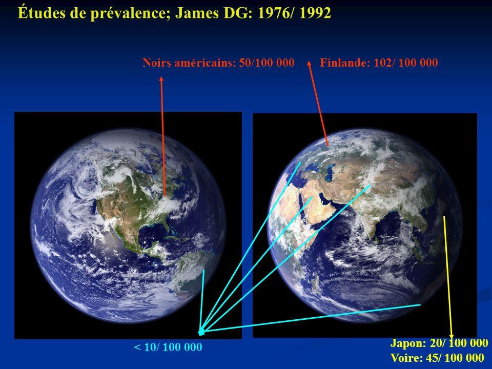 Études de prévalence; James DG: 1976/ 1992
