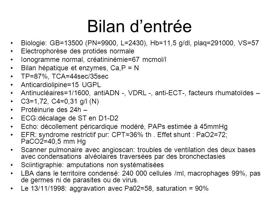 Bilan d'entrée Biologie: GB=13500 (PN=9900, L=2430), Hb=11,5 g/dl, plaq=291000, VS=57. Electrophorèse des protides normale.