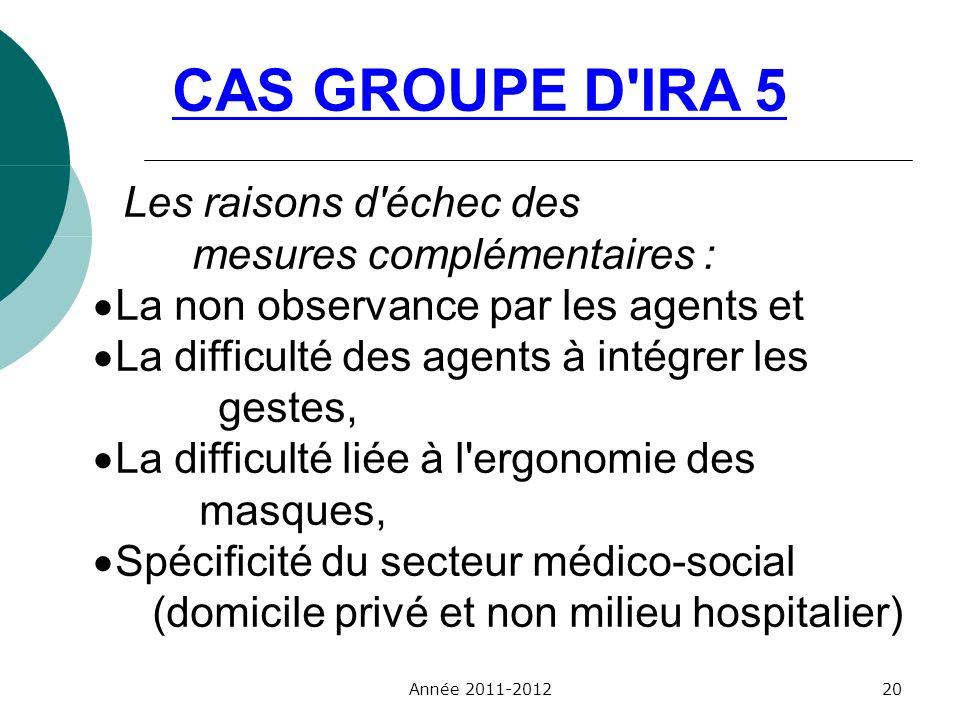 CAS GROUPE D IRA 5 Les raisons d échec des mesures complémentaires :