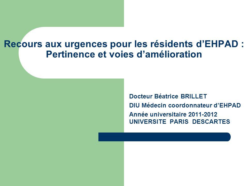 Recours aux urgences pour les résidents d'EHPAD : Pertinence et voies d'amélioration