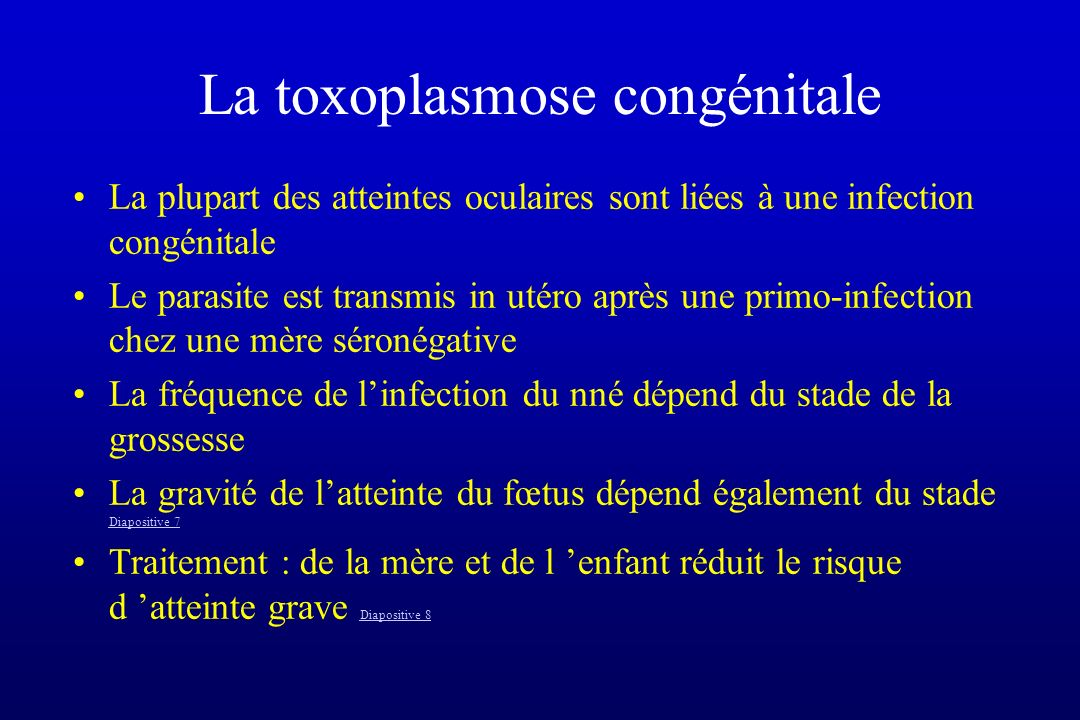 La toxoplasmose congénitale
