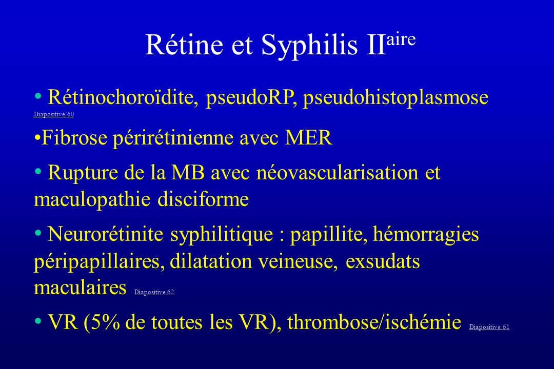 Rétine et Syphilis IIaire