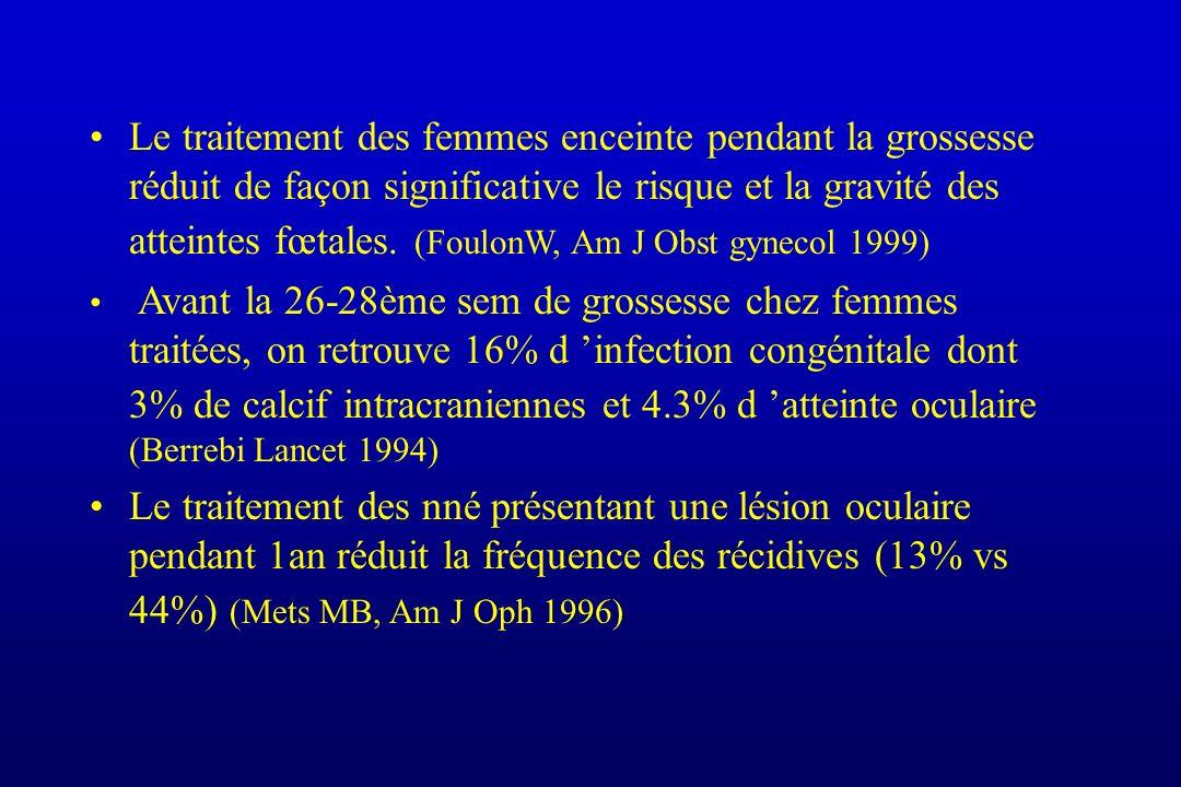 Le traitement des femmes enceinte pendant la grossesse réduit de façon significative le risque et la gravité des atteintes fœtales. (FoulonW, Am J Obst gynecol 1999)