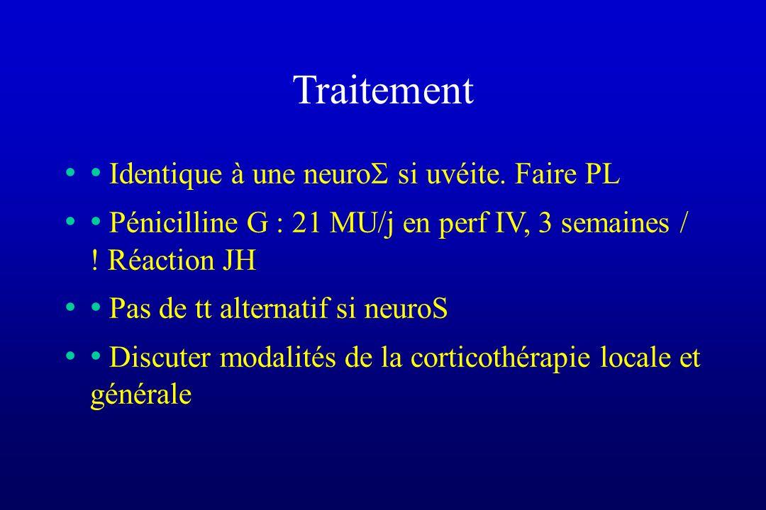 Traitement • Identique à une neuro si uvéite. Faire PL