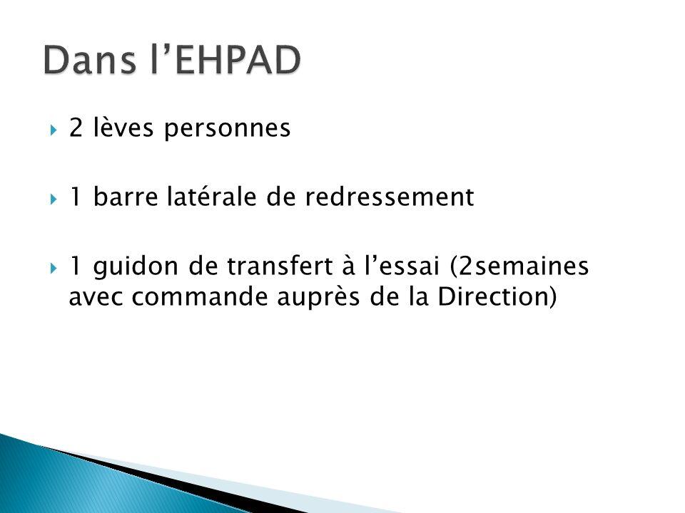 Dans l'EHPAD 2 lèves personnes 1 barre latérale de redressement