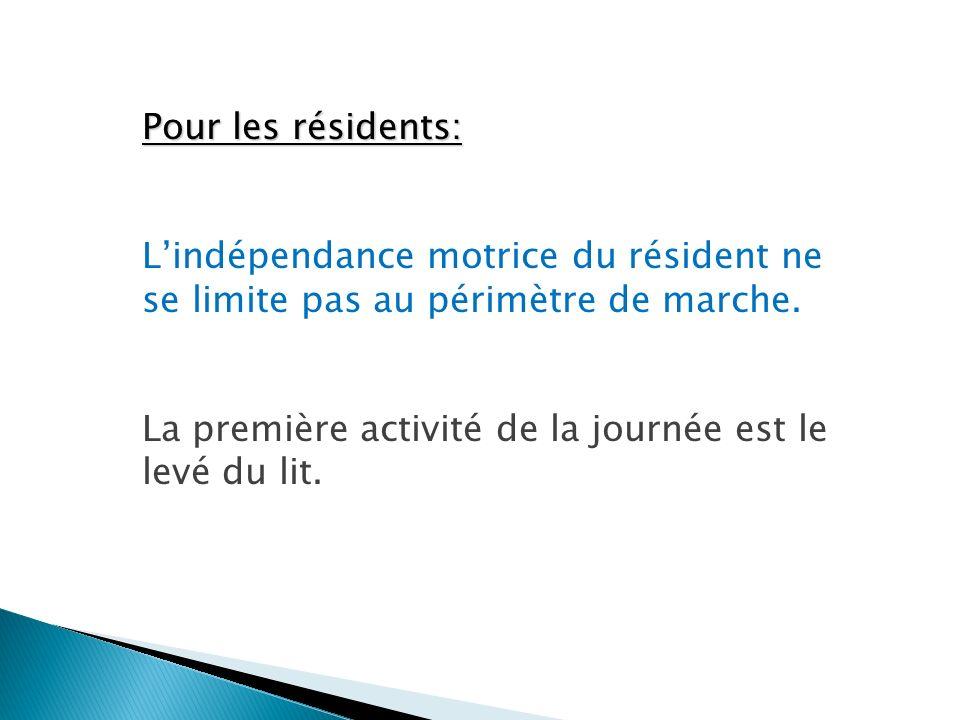 Pour les résidents: L'indépendance motrice du résident ne se limite pas au périmètre de marche.