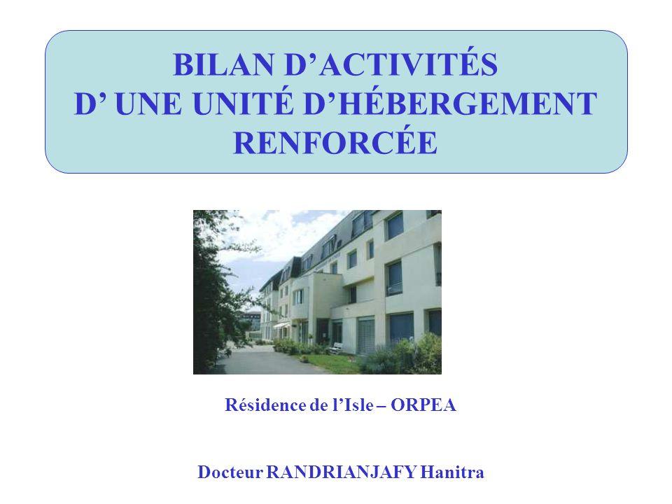BILAN D'ACTIVITÉS D' UNE UNITÉ D'HÉBERGEMENT RENFORCÉE