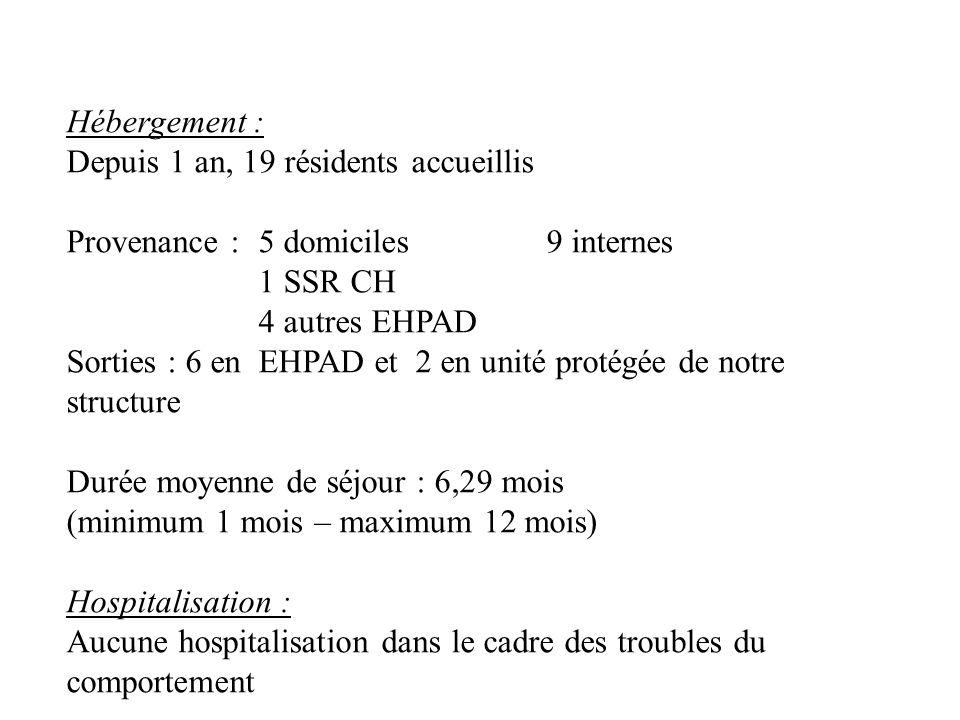 Hébergement : Depuis 1 an, 19 résidents accueillis. Provenance : 5 domiciles 9 internes. 1 SSR CH.