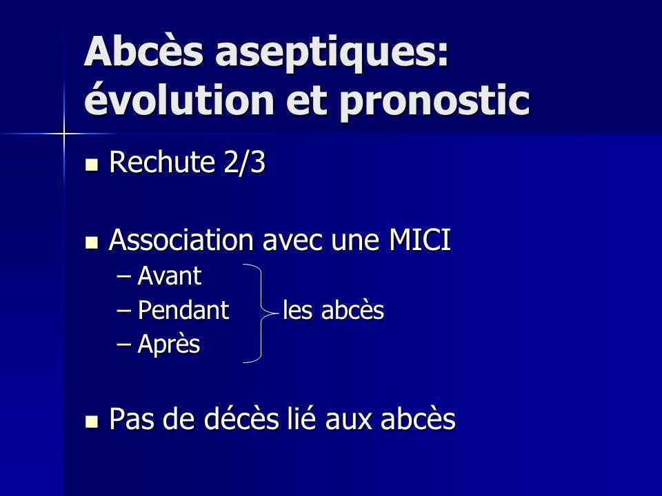 Abcès aseptiques: évolution et pronostic