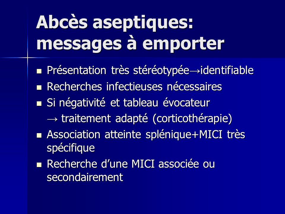 Abcès aseptiques: messages à emporter