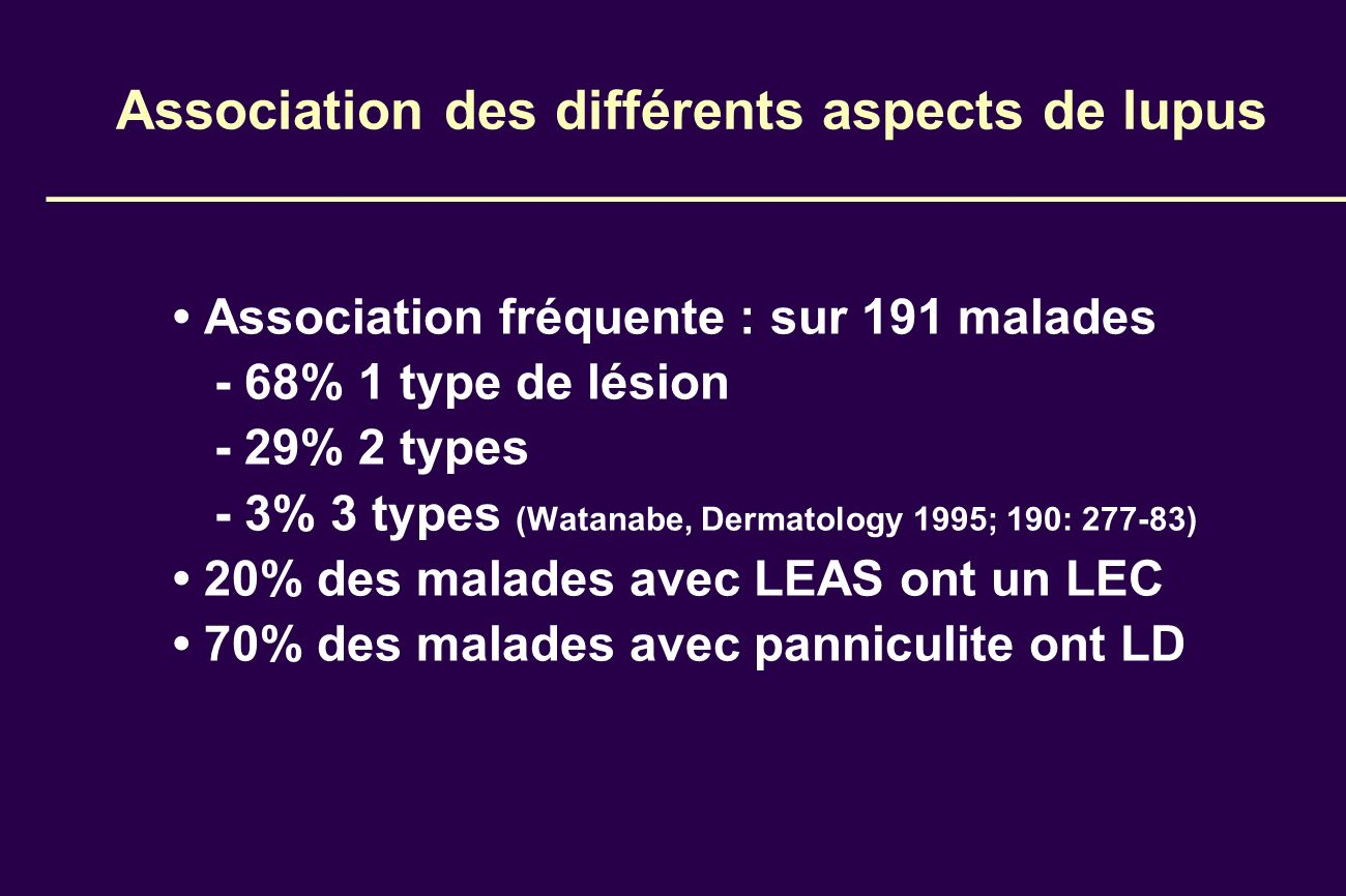 Association des différents aspects de lupus