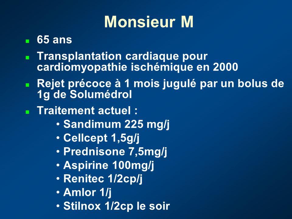 Monsieur M 65 ans. Transplantation cardiaque pour cardiomyopathie ischémique en 2000.
