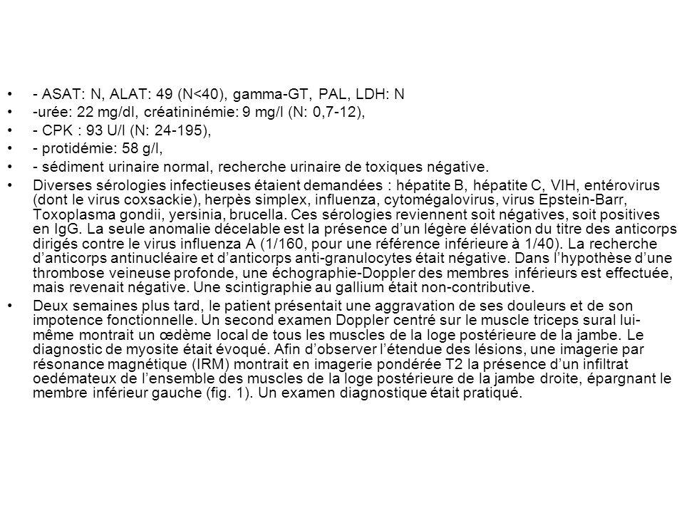 - ASAT: N, ALAT: 49 (N<40), gamma-GT, PAL, LDH: N