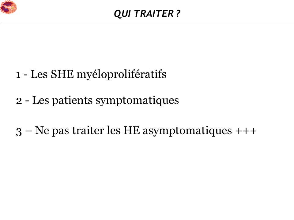 1 - Les SHE myéloprolifératifs 2 - Les patients symptomatiques