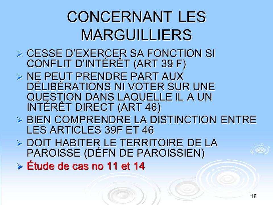 CONCERNANT LES MARGUILLIERS