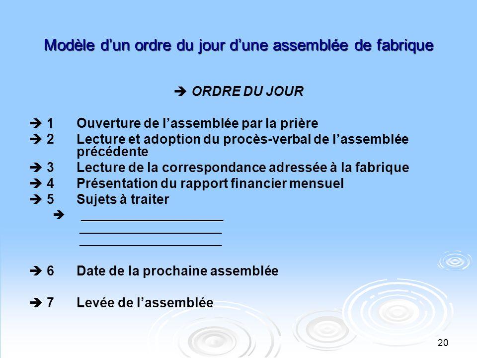 Modèle d'un ordre du jour d'une assemblée de fabrique