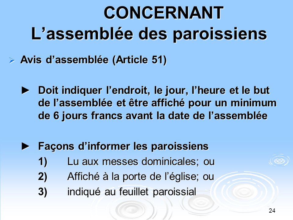 CONCERNANT L'assemblée des paroissiens